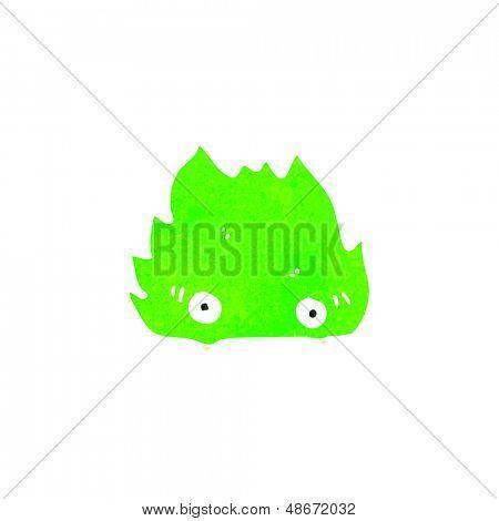 retro cartoon furry little green monster