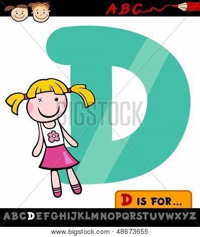 Letra D con la muñeca de dibujos animados ilustración