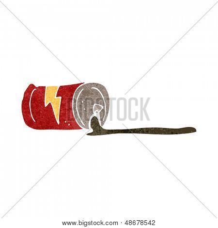 retro cartoon spilled soda can