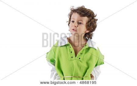 Beautiful Child Dressed As Robin Hood