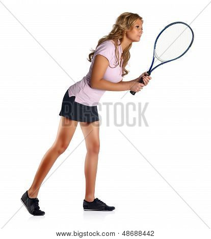 Tennis woman ready and waiting