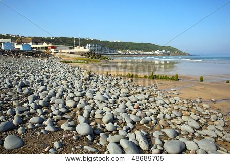 Westward Ho beach and coast Devon England