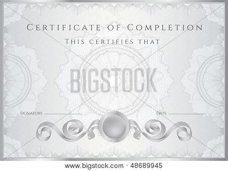 Silver Certificate / Diploma template with guilloche pattern (tracery)