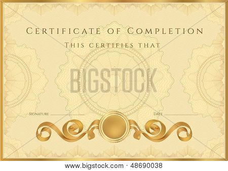 Gold Certificate / Diploma template with guilloche pattern (tracery)