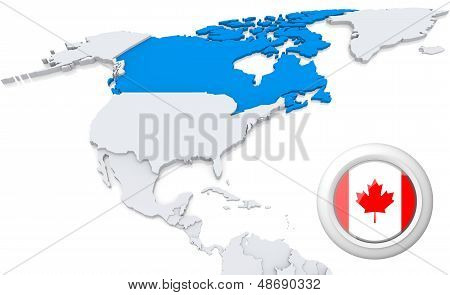 Canada On A Map Of North America