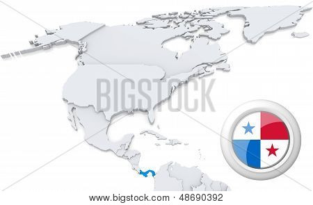 Panama On A Map Of North America