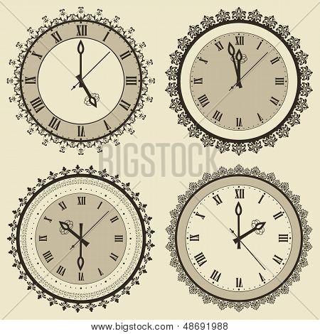 Vector Vintage Clock Set