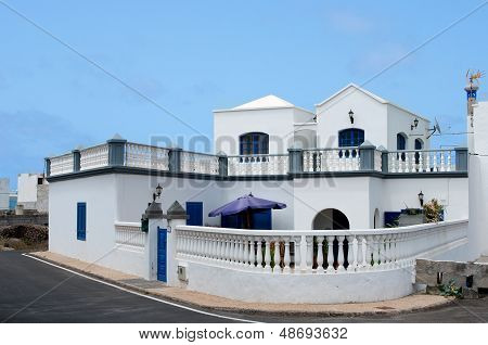 Summer villa near the ocean,Lanzarote, Spain,traditional white village house in Lanzarote