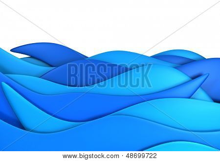 Blue ocean wave isolated background 3d illustration