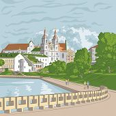 stock photo of trinity  - Vector sketch of a old town cityscape with church and river Trinity Suburb Minsk Belarus - JPG