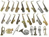 picture of wind instrument  - The image of different kinds of wind instruments - JPG