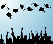 stock photo of graduation hat  - the hat tossing ceremony at graduation celebration - JPG