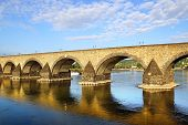 stock photo of moselle  - Koblenz old bridge over the Moselle river - JPG