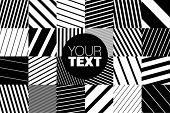abstract geometric pattern background with black and white striped squares