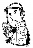 picture of private detective  - black and white clipart detective   - JPG