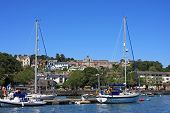 stock photo of dartmouth  - yachts moored on the River Dart in Dartmouth - JPG