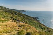stock photo of strangling  - North Cornwall coast at Strangles near Crackington Haven between Bude and Tintagel  England UK on a beautiful sunny summer day - JPG