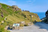 foto of merlin  - Ramparts Path to Tintagel Castle Cornwall England medieval fortification on the peninsula of Tintagel Island - JPG