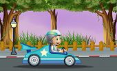 stock photo of post-teen  - Illustration of a boy in his blue racing car with a white star - JPG