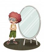 Illustration of a young boy near the mirror on a white background