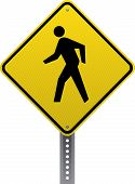 stock photo of pedestrian crossing  - Pedestrian crossing traffic warning sign - JPG