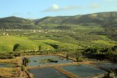stock photo of golan-heights  - The landscape of Golan Heights with ponds and mountains - JPG