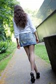 pic of walking away  - A Girl walking away from the camera