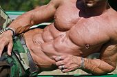 stock photo of nipple  - Handsome muscular bodybuilder - JPG