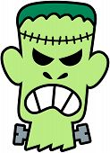 image of frankenstein  - Scary and angry green Frankenstein with seams in his head and screws in his neck while showing his teeth in a very aggressive and threatening mood - JPG