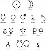 image of significant  - Illustration of the main planet symbols of astrology isolated and on white background - JPG