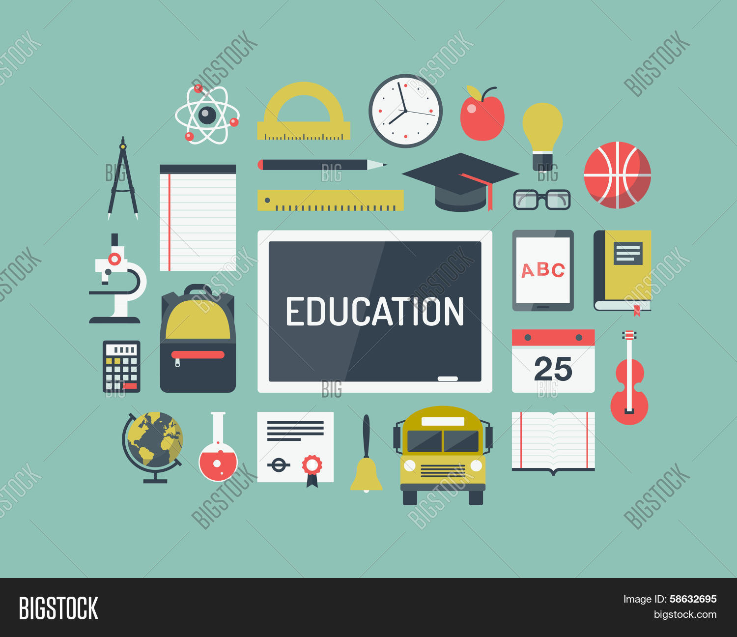 education items flat icons vekt