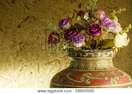 Still Life. Beautiful Rose In Old Clay Vase
