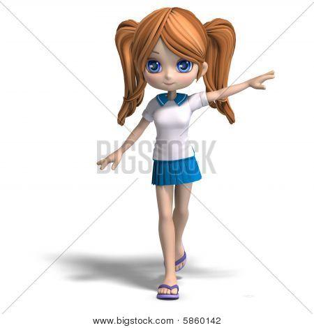 Cute Cartoon School Girl