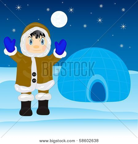 Eskimo beside igloo