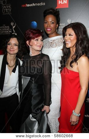 Sara Gilbert, Sharon Osbourne, Aisha Tyler and Julie Chen at the 40th Annual Daytime Emmy Awards, Beverly Hilton Hotel, Beverly Hills, CA 06-16-13