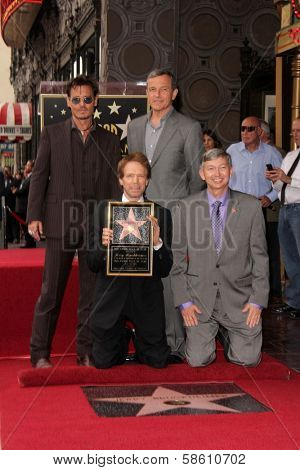 Johnny Depp, Bob Iger, Jerry Bruckheimer and Leron Gubler at the Jerry Bruckheimer Star on the Hollywood Walk of Fame ceremony, Hollywood, CA 06-24-13