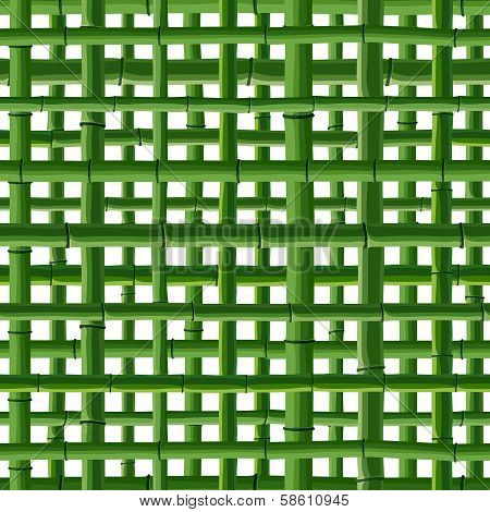 Seamless Background Of Green Bamboo Grid.