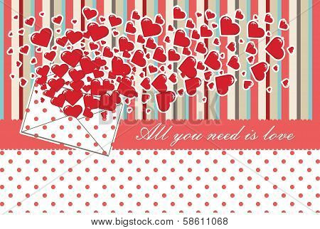 Love Letter With Valentines.vintage.vector