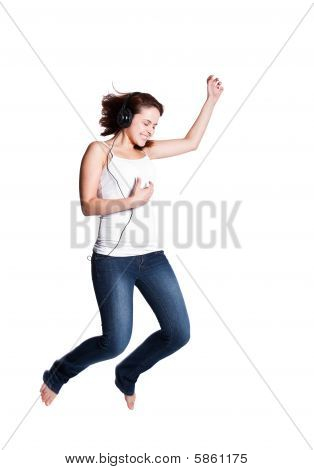 Beautiful Woman Jumping For Joy