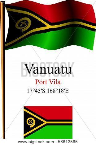 Vanuatu Wavy Flag And Coordinates