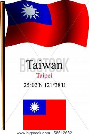 Taiwan Wavy Flag And Coordinates