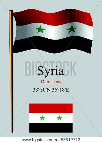Syria Wavy Flag And Coordinates