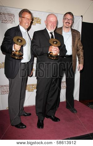Mark Johnson, Jonathan Banks and Vince Gilligan at the 39th Annual Saturn Awards Press Room, The Castaway, Burbank, CA 06-26-13
