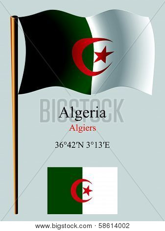 Algeria Wavy Flag And Coordinates