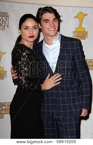 Jodi Lyn O'Keefe and RJ Mitte at the 39th Annual Saturn Awards Press Room, The Castaway, Burbank, CA 06-26-13