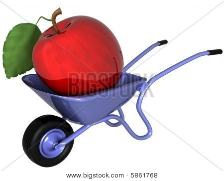 Giant Apple In A Wheelbarrow