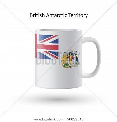 British Antarctic Territory flag souvenir mug on white.