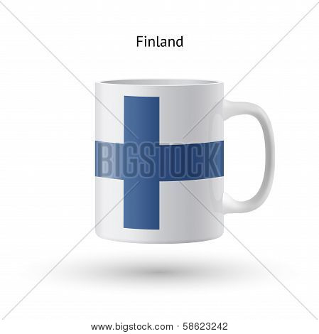 Finland flag souvenir mug on white background.
