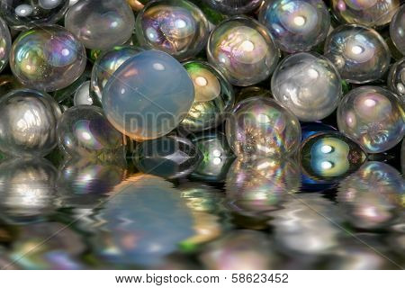 Sunken Iridescent Glass Beads