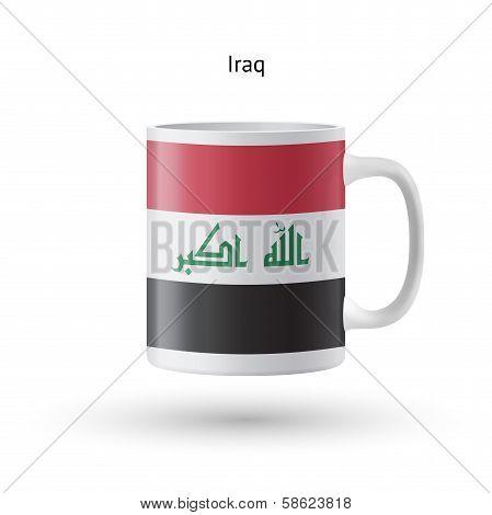 Iraq flag souvenir mug on white background.